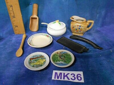 Antique Vintage Dollhouse Doll House Lot: Mixed Kitchen, Tureen, More MK36