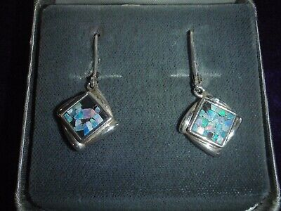 Antique Vintage Sterling Silver Mexico Opal Earrings Lever Back