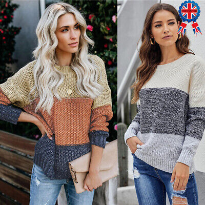 Women O Neck Long Sleeve Block Netted Texture Pullover Sweater Ladies Jumper Top