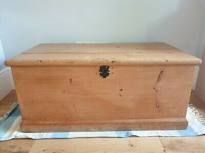Antique Victorian Vintage Old Pine Chest / Trunk / Blanket Box