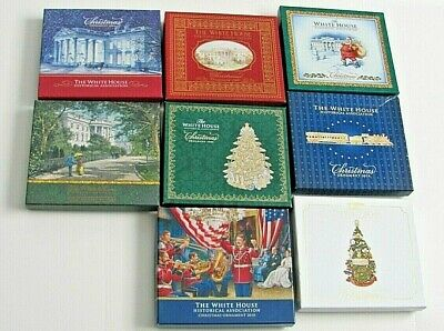Lot of (8) White House Historical Association Christmas Ornaments 2004-2016