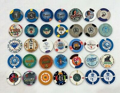 Lot of 31 Las Vegas Casino Chips w/ One $5 Chip & 4 Duplicates (Total 35 Chips)