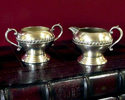 Sheridan Silver Co Creamer and Open Sugar Bowl Silver on Copper Gadroon
