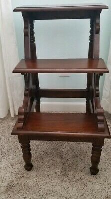 Vintage Mahogany Regency Style Library/Bed Steps