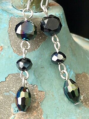 Stunning Silver Tone and Opalescent Midnight Blue Dangle Earrings.