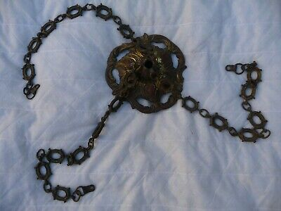 Antique French Large Gilt Brass Plafonnier Lighting Rose+3 Brass Chains Art Deco