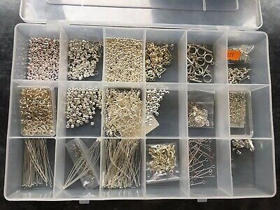 Box Of Various Silver Plated Jewellery Making Findings