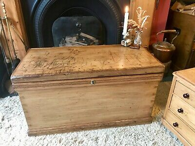 Fabulous Antique Victorian Vintage Old Pine Chest / Trunk / Blanket Box c1880's
