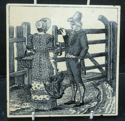 Maw and Co picture tile  , Past times series Lady with eggs and chickens 1880
