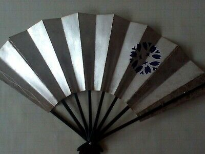 Vintage Japanese FAN - Hand Decorated - Made of Card and Plastic #3