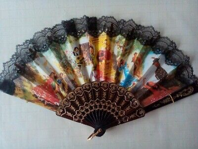 Vintage Spanish Flamenco Dancers FAN - Made of Cloth and Plastic with Lace Trim