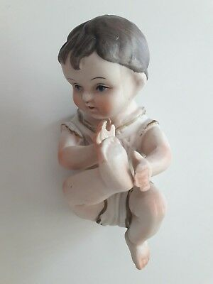 Bisque Porcelain Piano Baby Figurine Playing