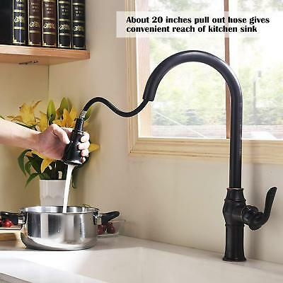 Faucet Antique Single Handle Solid Brass Pull Out Sprayer Oil Rubbed Bronze