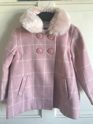 BNWT Next Duffle Style Coat. Girls. Age 2 - 6 Years. Pink. Faux Fur Trim