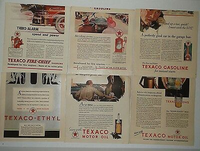 lot 12 vtg 1930s Texaco Fire Chief Ethyl Vacuum Oil Co Mobil gasoline gas ads