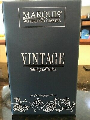 Box of 4 Marquis Waterford Crystal Vintage Collection Champagne Flutes New