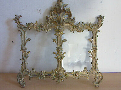 "Victorian ornate gold gilt Cast Metal double 4""x6"" picture frame w/ roses"
