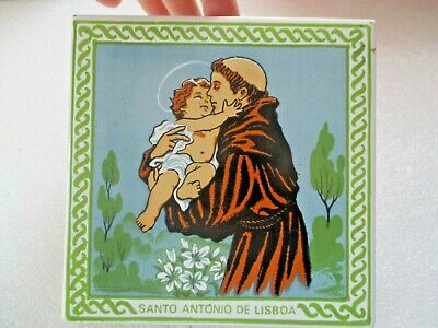 Vintage Hand Painted Azupal Pombal Ceramic Tile St Anthony&The Child (Jesus)