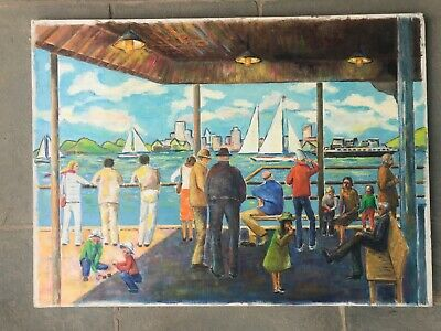 New York City Oil Painting Modernist Harbor Seascape Dock Ferry Mid-Century