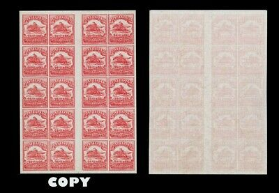 USA Wells, Fargo & Co. Pony Express, 25c Red  BLOCK OF 20 , FAKE