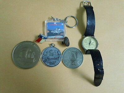 Vintage Junk Drawer Lot of Keychains, Shirt Pins, Commeratives, and Other Items