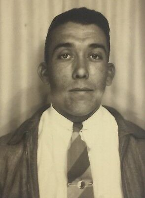 Vintage Photograph Photo Booth Handsome Man Poses 1940s Gay Interest D9