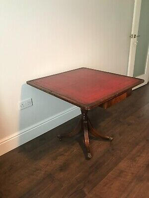 Bevan Funnell Reprodux Mahogany Foldable Swivel Card Table with Red leather