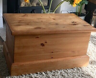 Solid Wooden Blanket Box. Vintage Toy Storage Chest. Antique Pine Trunk. Post.