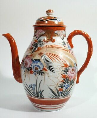 Antique Japanese Meiji Period Teapot Painted with Birds & Flowers.