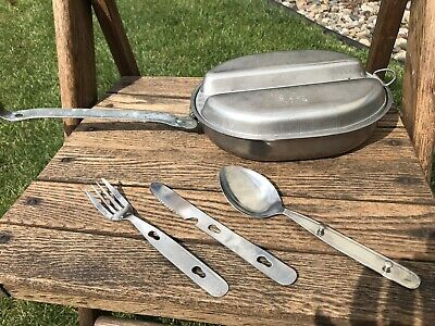 WWII Knapp Monarch 1944 US Military Army Infantry Mess Kit w/ Utensils & Sponge