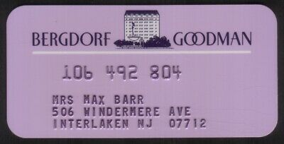 Vintage Bergdorf Goodman Department Store Princess Size Merchant Credit Card