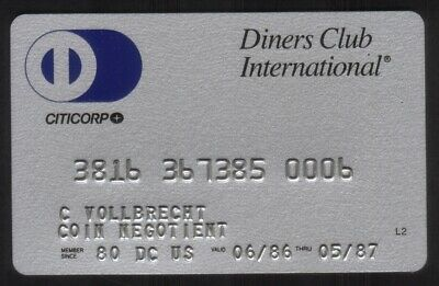 Diners Club International Credit Card Exp 05/87 (Citicorp)