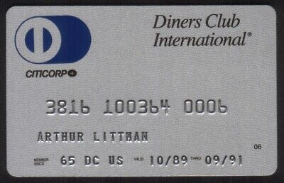 Diners Club International Credit Card Exp 09/91 (Citicorp)