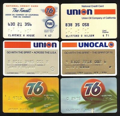 Unocal Oil Company Union 76 Credit Cards: 1967 // 1996:  6 Different