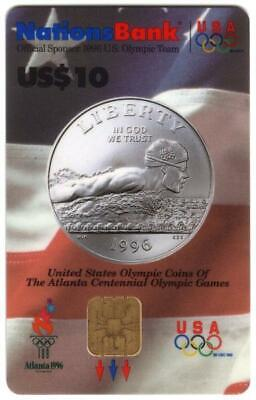 $10,20,20,50. 1996 Olympics VISA Cash: Olympic Sports Coins Set of 4 Smart Card