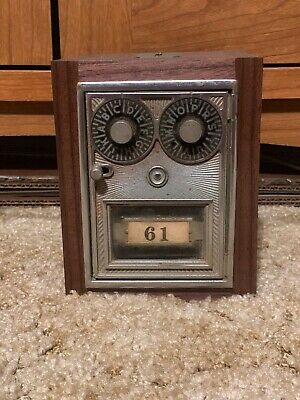 Antique Vintage Post Office Door Mail Box Postal Bank Corbin Eagle Double Dial