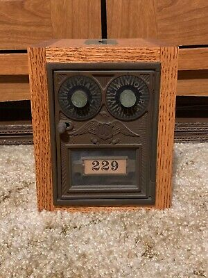 Antique Vintage Post Office Door Mail Box Postal Bank Corbin Eagle Double Dial 4