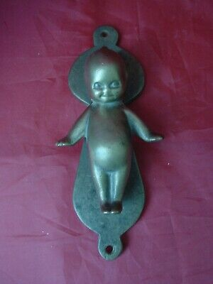 Rare Antique 7 In Brass Kewpie Door Knocker, Signed O'neill