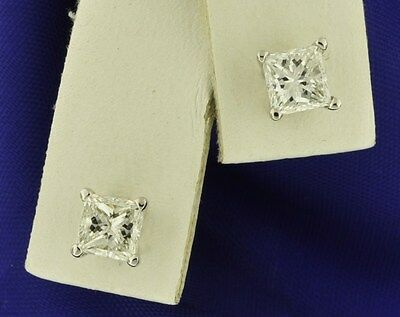 14k Solid White Gold Natural Princess Cut Diamond Stud Earring 1.00ct screw back