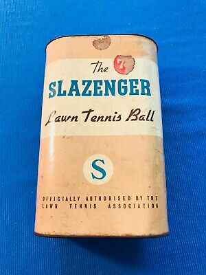 """Vintage Slazenger Lawn """"S"""" Tennis Ball Can with 6 white balls"""