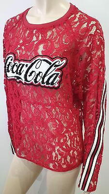 PINKO COCA COLA Collaboration Round Neck Crystal Long Sleeve Lace Blouse Top L