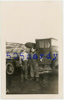 WWII US GI Photo - 824th Engineer Aviation Battalion GIs w/ GMC CCKW Fuel Truck