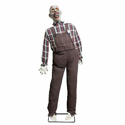 Halloween Haunters Life Size Stand Up Speaking Farmer Zombie Animated Rocking