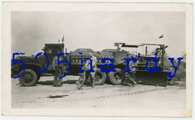 WWII US GI Photo - 824th Engineer GIs w/ GMC CCKW Fuel Truck & D8/7 Caterpillar