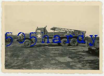 WWII US GI Photo - Brockway B-666 Bridge Erector Tuck (Photo Owners Truck) -TOP!