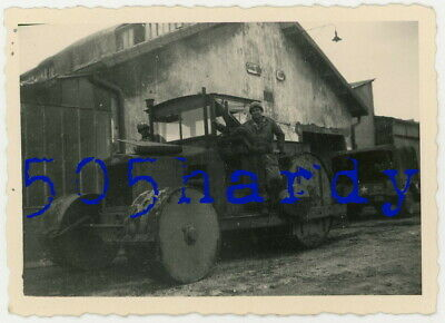 WWII US GI Photo - 824th GIs On US Captured German Road Roller Compactor Truck