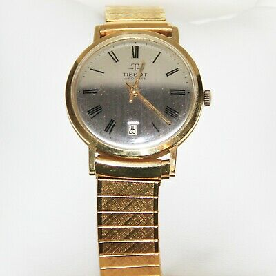 Vintage Tissot Visodate Solid 14K Yellow Gold Men's Wrist Watch With Date