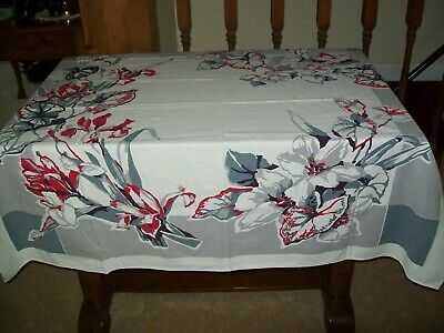 Vintage Tablecloth  Flowers Red, Shades Of Gray, White & Plum