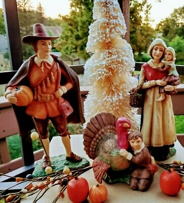 ☆BETHANY LOWE☆PILGRIM FAMILY 3pcs. THANKSGIVING☆RARE☆RETIRED☆SIGNED☆COLLECTABLE