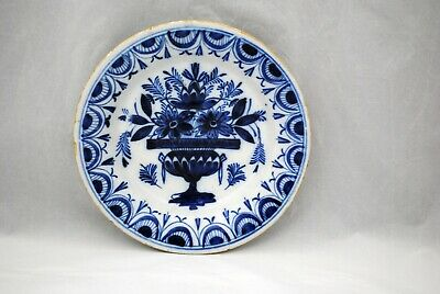 Antique Blue & White 18th Century Delft 9 inch Plate Urn with Flowers